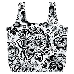 Black Floral Damasks Pattern Baroque Style Full Print Recycle Bags (L)