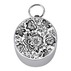 Black Floral Damasks Pattern Baroque Style Mini Silver Compasses