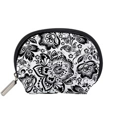 Black Floral Damasks Pattern Baroque Style Accessory Pouches (Small)