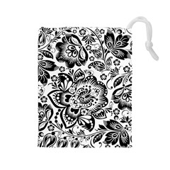 Black Floral Damasks Pattern Baroque Style Drawstring Pouches (Large)