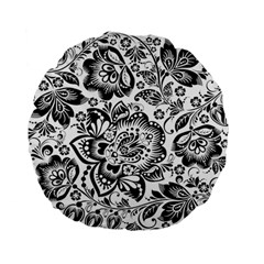 Black Floral Damasks Pattern Baroque Style Standard 15  Premium Flano Round Cushions