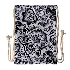 Black Floral Damasks Pattern Baroque Style Drawstring Bag (large)