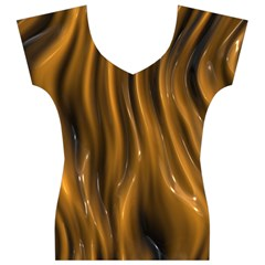 Shiny Silk Golden Women s V-Neck Cap Sleeve Top