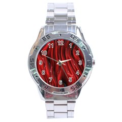 Shiny Silk Red Stainless Steel Men s Watch