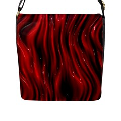 Shiny Silk Red Flap Messenger Bag (L)