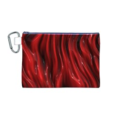 Shiny Silk Red Canvas Cosmetic Bag (M)