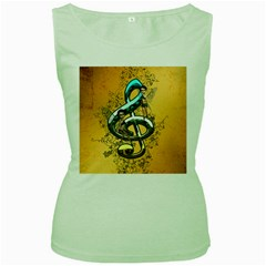 Music, Clef With Fairy And Floral Elements Women s Green Tank Tops