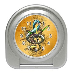 Music, Clef With Fairy And Floral Elements Travel Alarm Clocks
