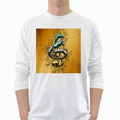 Music, Clef With Fairy And Floral Elements White Long Sleeve T Shirts