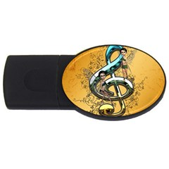 Music, Clef With Fairy And Floral Elements USB Flash Drive Oval (4 GB)