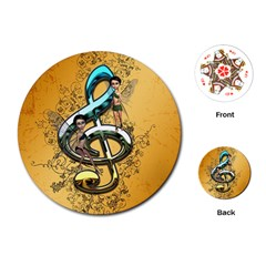 Music, Clef With Fairy And Floral Elements Playing Cards (round)