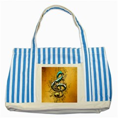 Music, Clef With Fairy And Floral Elements Striped Blue Tote Bag