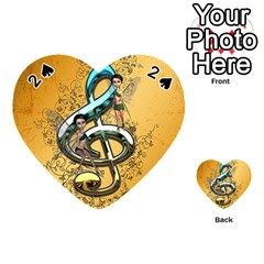 Music, Clef With Fairy And Floral Elements Playing Cards 54 (heart)