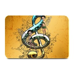 Music, Clef With Fairy And Floral Elements Plate Mats