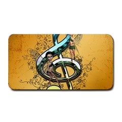 Music, Clef With Fairy And Floral Elements Medium Bar Mats