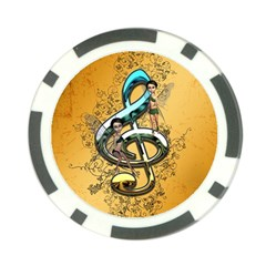 Music, Clef With Fairy And Floral Elements Poker Chip Card Guards
