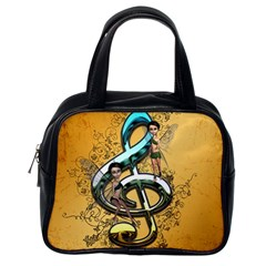 Music, Clef With Fairy And Floral Elements Classic Handbags (One Side)