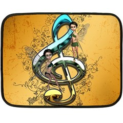Music, Clef With Fairy And Floral Elements Fleece Blanket (Mini)
