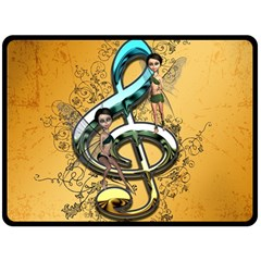 Music, Clef With Fairy And Floral Elements Fleece Blanket (Large)