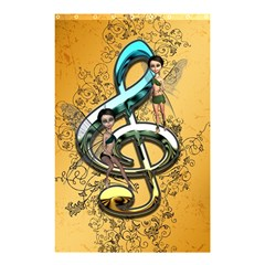 Music, Clef With Fairy And Floral Elements Shower Curtain 48  x 72  (Small)