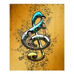 Music, Clef With Fairy And Floral Elements Shower Curtain 60  x 72  (Medium)