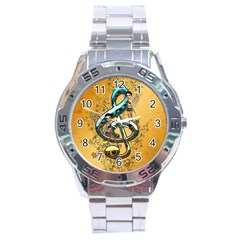 Music, Clef With Fairy And Floral Elements Stainless Steel Men s Watch
