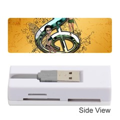 Music, Clef With Fairy And Floral Elements Memory Card Reader (Stick)