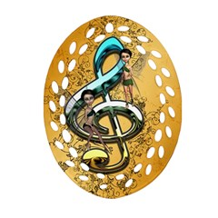 Music, Clef With Fairy And Floral Elements Oval Filigree Ornament (2-Side)