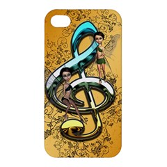 Music, Clef With Fairy And Floral Elements Apple iPhone 4/4S Hardshell Case