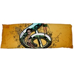 Music, Clef With Fairy And Floral Elements Body Pillow Cases Dakimakura (Two Sides)