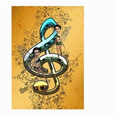 Music, Clef With Fairy And Floral Elements Large Garden Flag (Two Sides)