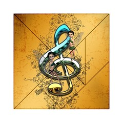 Music, Clef With Fairy And Floral Elements Acrylic Tangram Puzzle (6  x 6 )