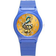 Music, Clef With Fairy And Floral Elements Round Plastic Sport Watch (S)