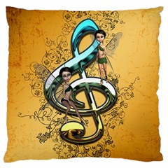 Music, Clef With Fairy And Floral Elements Large Cushion Cases (One Side)