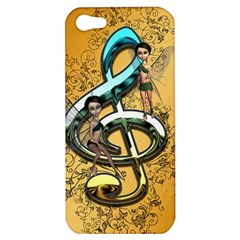 Music, Clef With Fairy And Floral Elements Apple iPhone 5 Hardshell Case