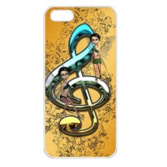 Music, Clef With Fairy And Floral Elements Apple iPhone 5 Seamless Case (White)