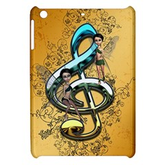 Music, Clef With Fairy And Floral Elements Apple iPad Mini Hardshell Case