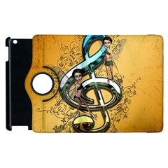 Music, Clef With Fairy And Floral Elements Apple Ipad 2 Flip 360 Case