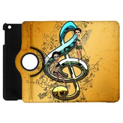 Music, Clef With Fairy And Floral Elements Apple iPad Mini Flip 360 Case