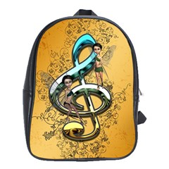 Music, Clef With Fairy And Floral Elements School Bags (XL)