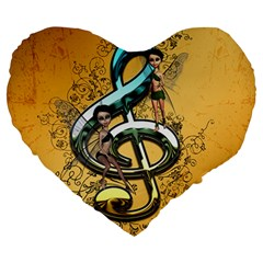 Music, Clef With Fairy And Floral Elements Large 19  Premium Heart Shape Cushions
