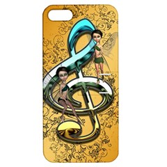 Music, Clef With Fairy And Floral Elements Apple iPhone 5 Hardshell Case with Stand