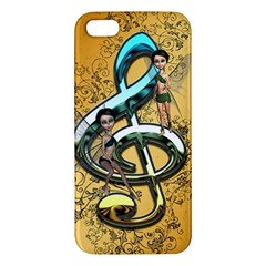 Music, Clef With Fairy And Floral Elements Apple iPhone 5 Premium Hardshell Case