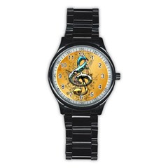 Music, Clef With Fairy And Floral Elements Stainless Steel Round Watches