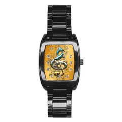 Music, Clef With Fairy And Floral Elements Stainless Steel Barrel Watch
