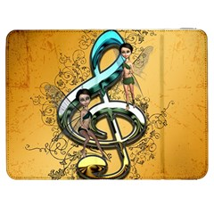 Music, Clef With Fairy And Floral Elements Samsung Galaxy Tab 7  P1000 Flip Case