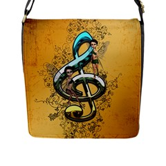 Music, Clef With Fairy And Floral Elements Flap Messenger Bag (L)