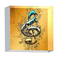 Music, Clef With Fairy And Floral Elements 5  x 5  Acrylic Photo Blocks
