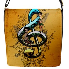 Music, Clef With Fairy And Floral Elements Flap Messenger Bag (S)