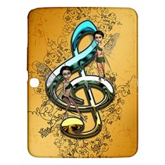 Music, Clef With Fairy And Floral Elements Samsung Galaxy Tab 3 (10.1 ) P5200 Hardshell Case